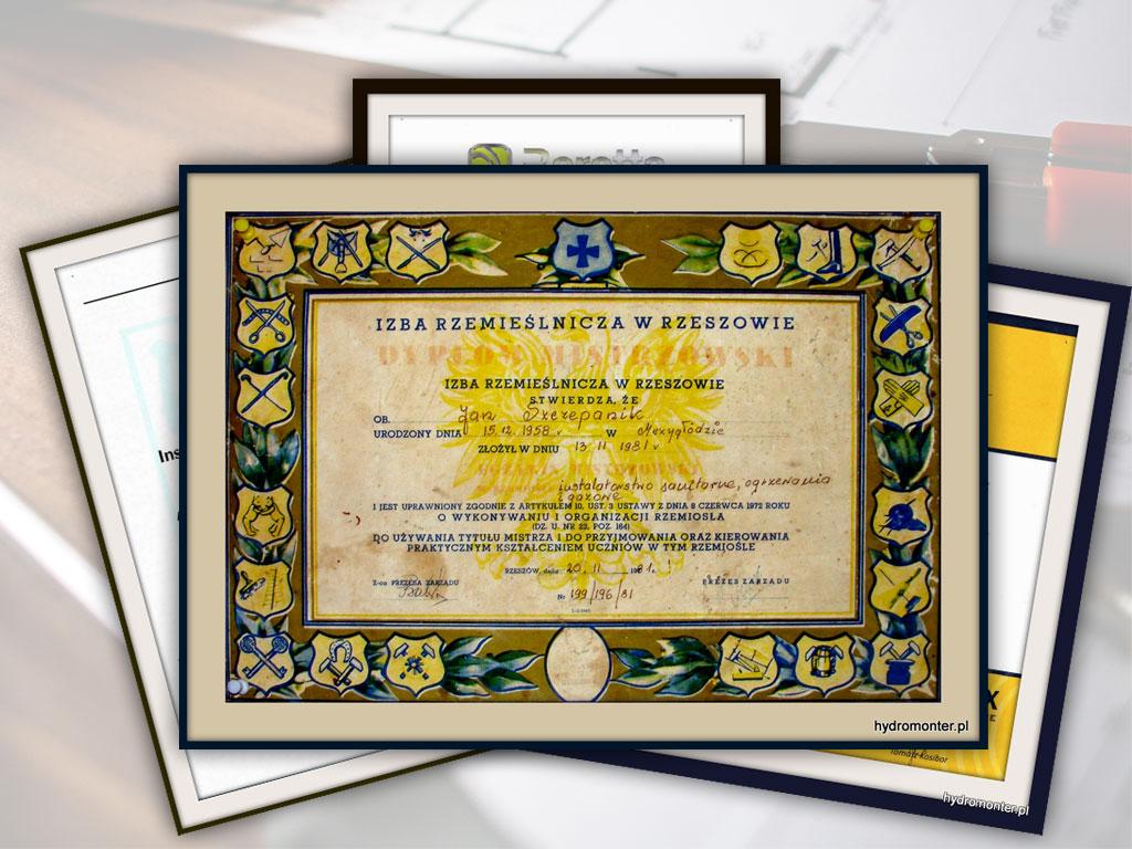 hydromonter.pl - dyplomy i certyfikaty